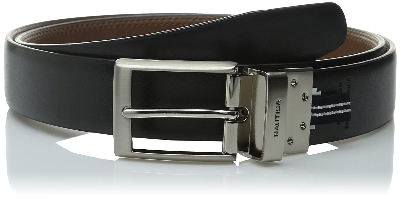 Nautica Mens 35MM Saddle-Leather Reversible Belt