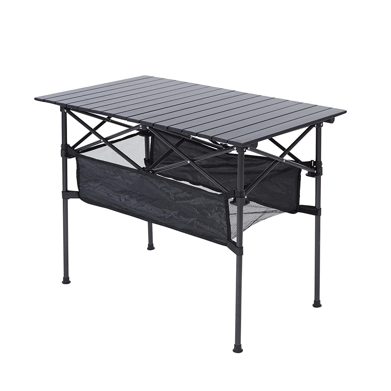RORAIMA Easy Setup Portable Compact Aluminum Camping Folding Table 120Lbs Capacity Great Outdoor Camping, BBQ Playing Cards Product Size 27.56X27.56X27.56 Inch Carry Bag Black