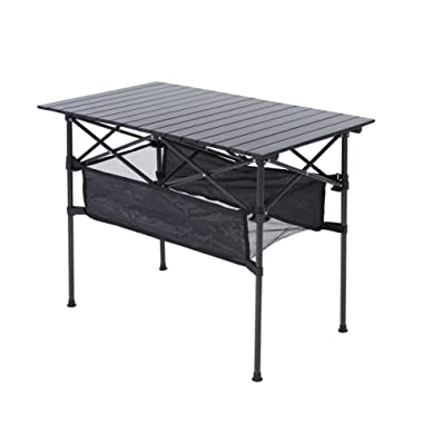 RORAIMA Easy Setup Portable Compact Aluminum Camping Folding Table with 120Lbs Capacity Great for Outdoor Camping, BBQ or Playing Cards Product Size 27.56X27.56X27.56 Inch with Carry Bag Black