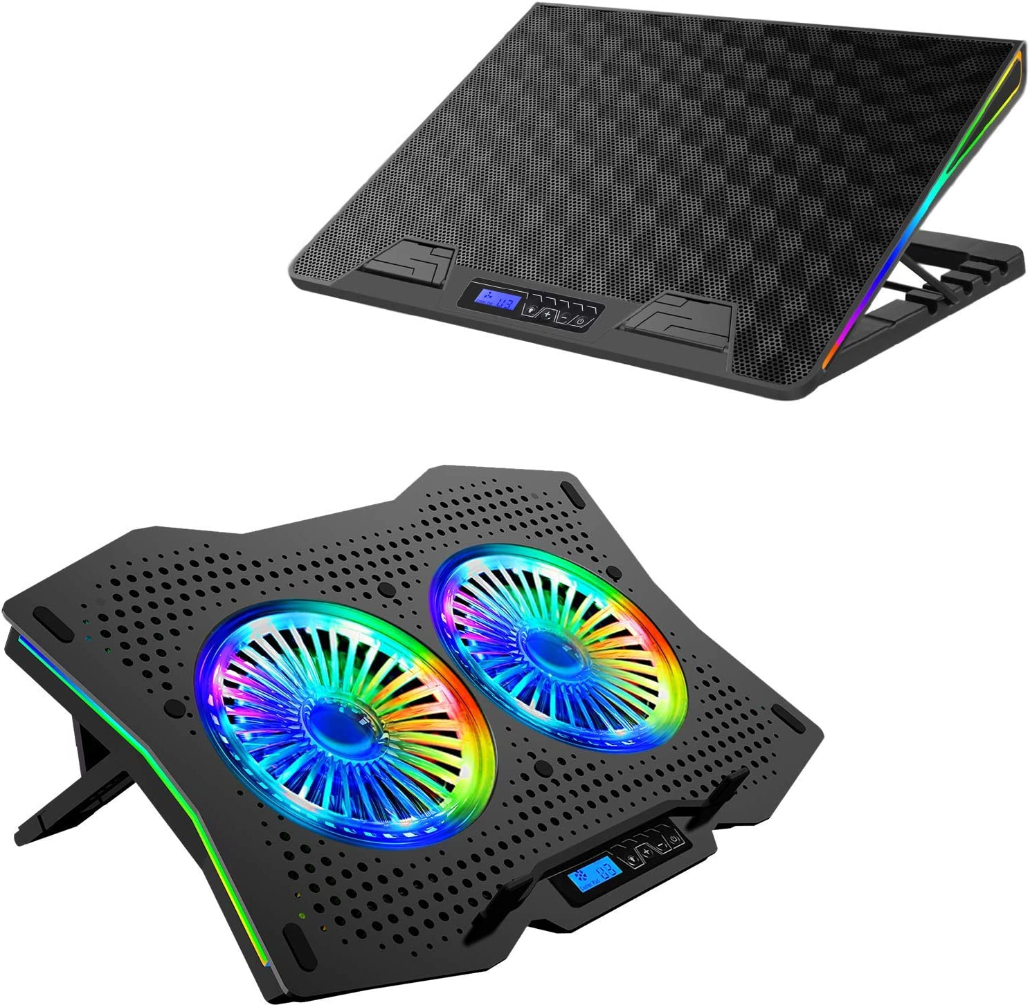 AICHESON Laptop Cooling Pad Combination Set, 2 USB Ports, Ergonomically Multiple Heights