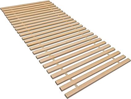 madera Somier Enrollable XXL con 25 Listones Extra estables Abedul Maciza, soporta hasta Aprox. 280 kg. 140 x 200 Naturaleza