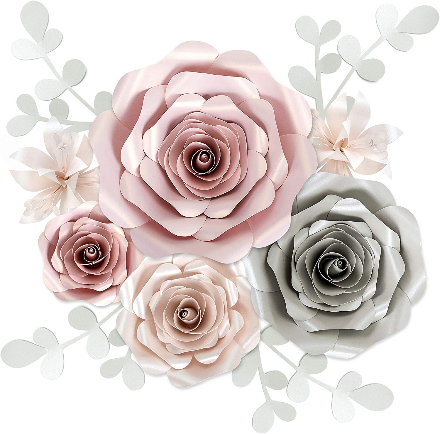 Rainbows & Lilies Large 3D Paper Flowers Decorations for Wall, Wedding, Bridal Shower, Baby Shower, Nursery Decor, Flower Backdrop, Party, 10-Pieces, Handmade & Assembled (Pink, Silver, Off-White)