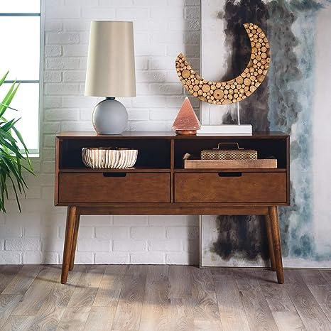 Amazon.com: Walnut Finish Wood Mid Century Modern Console ...