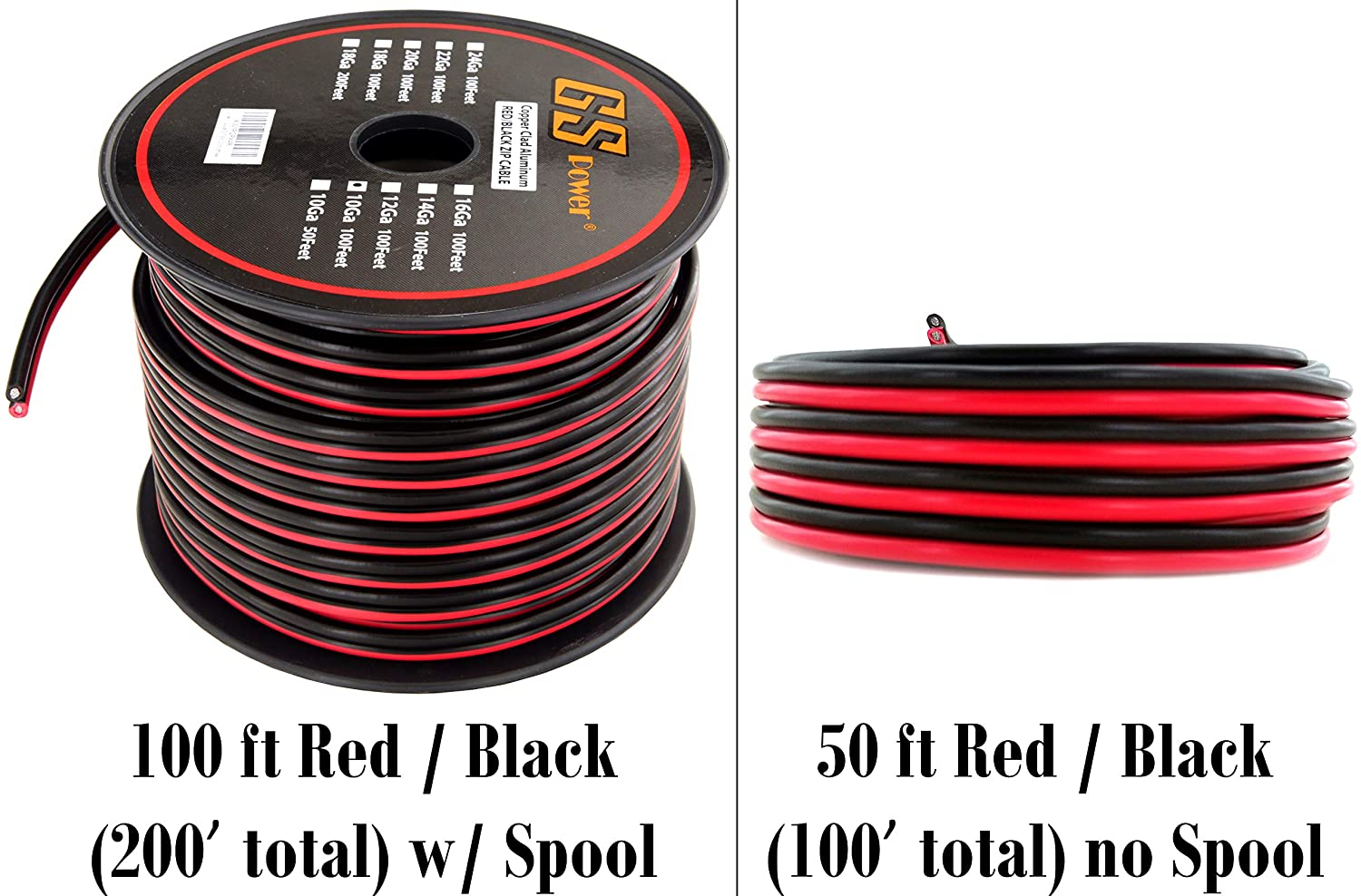 Gs Powers 10 Ga Gauge Cca Copper Clad Aluminum Red Black 2 Conductor Bonded Zip Cord Power Speaker Cable For Car Audio Home Theater Led Light