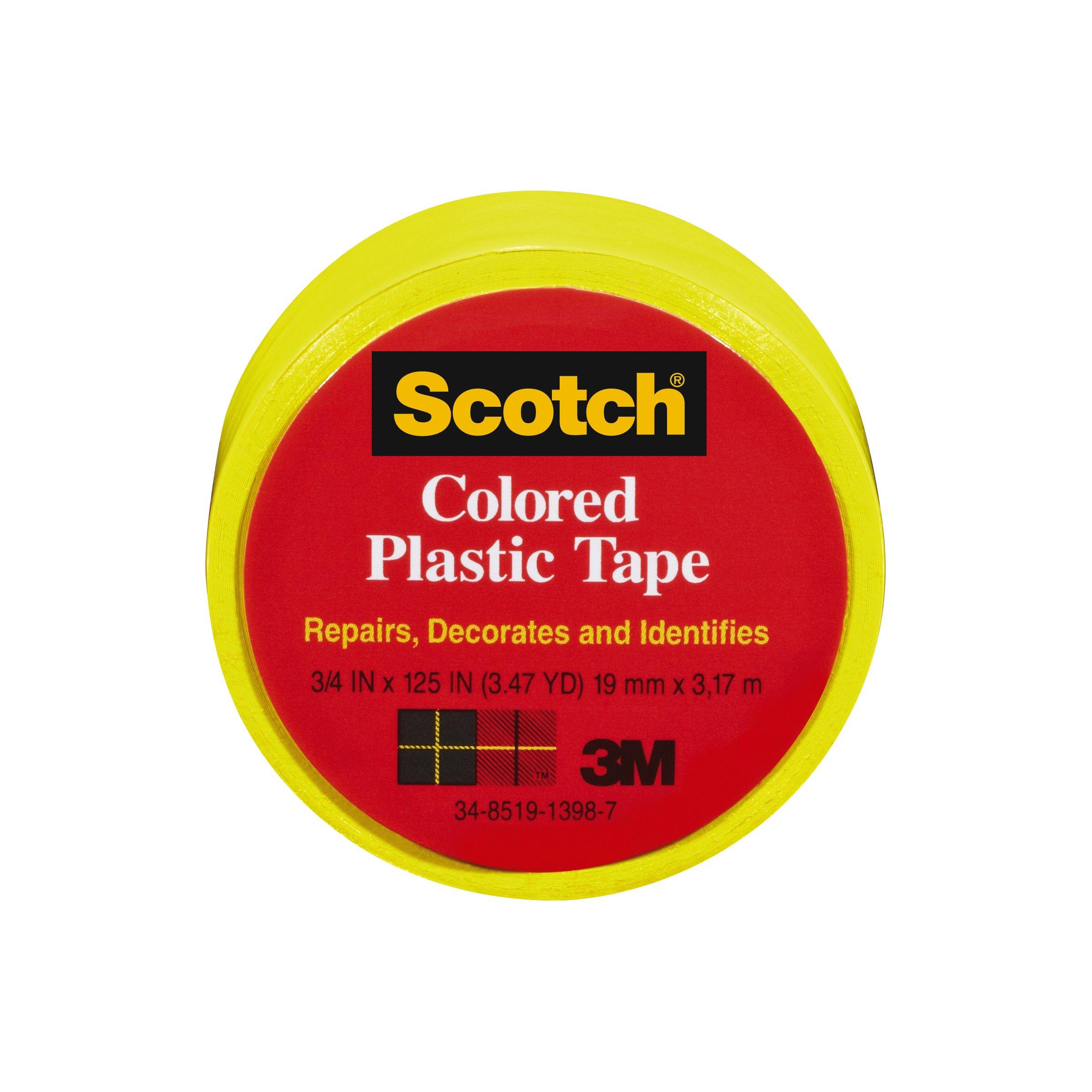 Scotch Scotch Colored Plastic Tape, Yellow, 3/4 x 125-Inch