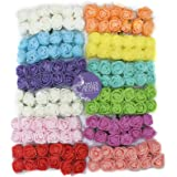 Asian Hobby Crafts Flowers Roses for Decoration Purposes, 12 Pcs x 12 Bunch Size: 1.5 cm (Multi)