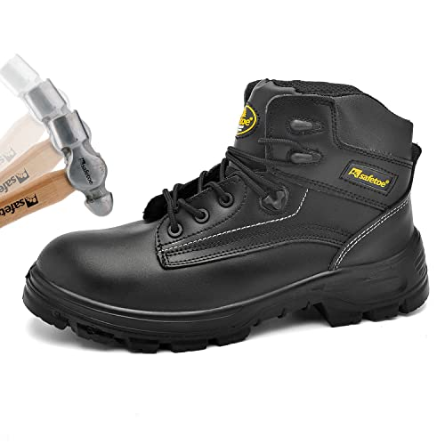 8a00df8a6e0 SAFETOE Mens Safety Boots Work Shoes - M8356B Black Waterproof Leather Work  Boots Steel Toe Safety Shoes