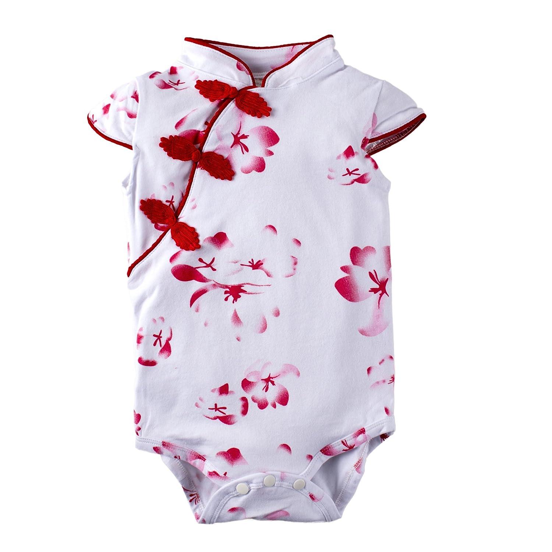 BIG ELEPHANT Baby Girls' 1 Piece Floral Print Short Sleeve Cheongsam Romper Jumpsuit Blue K37