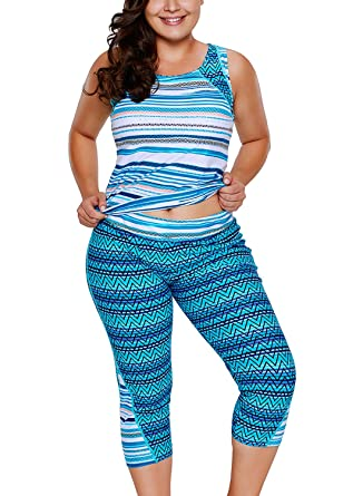 87764c48e5c Just for Plus Women s Multiple Zigzag Print Tankini and Capris Set Swimwear  Surfing Plus Size Rash