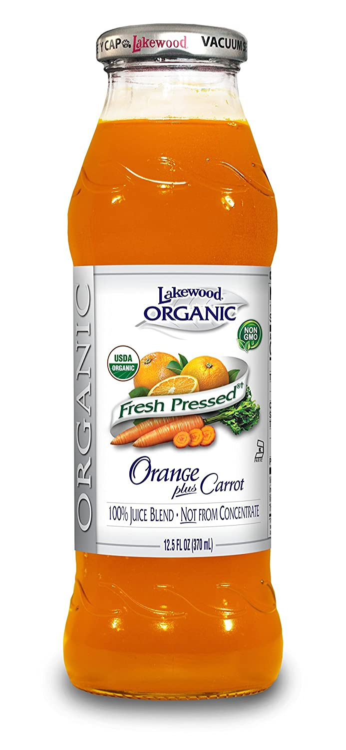 Lakewood Organic Orange Carrot Juice, 12.5-Ounce Bottles (Pack of 12)