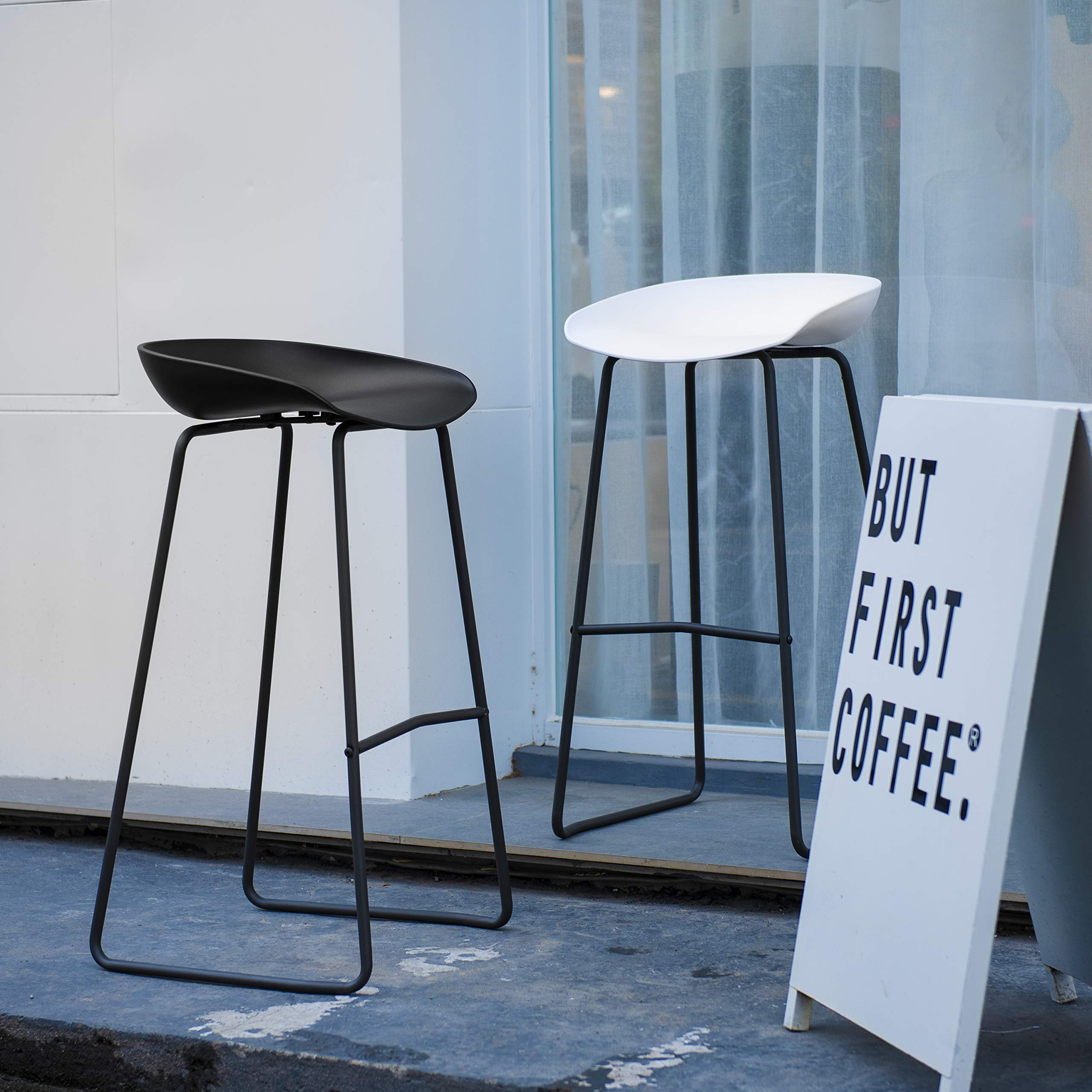 Art Leon Bar Stools Set of 2, Mid Century Modern Patio Counter Height Backless Plastic Seat Tall Bar Stools Chair with Metal Foot Rest for Outdoor/Indoor (White) by Art Leon
