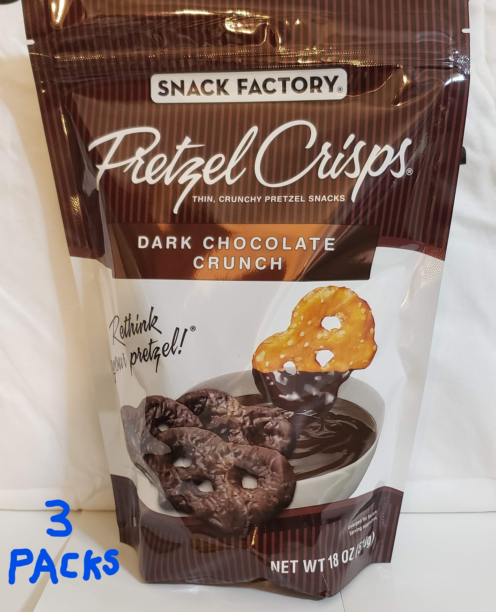Pretzel Crisps Dark Chocolate Crunch (Pack of 3) by Snack Factory