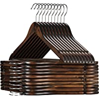 High-Grade Wooden Suit Hangers 20 Pack with Non Slip Pants Bar - Smooth Finish Solid Wood Coat Hanger with 360° Swivel…