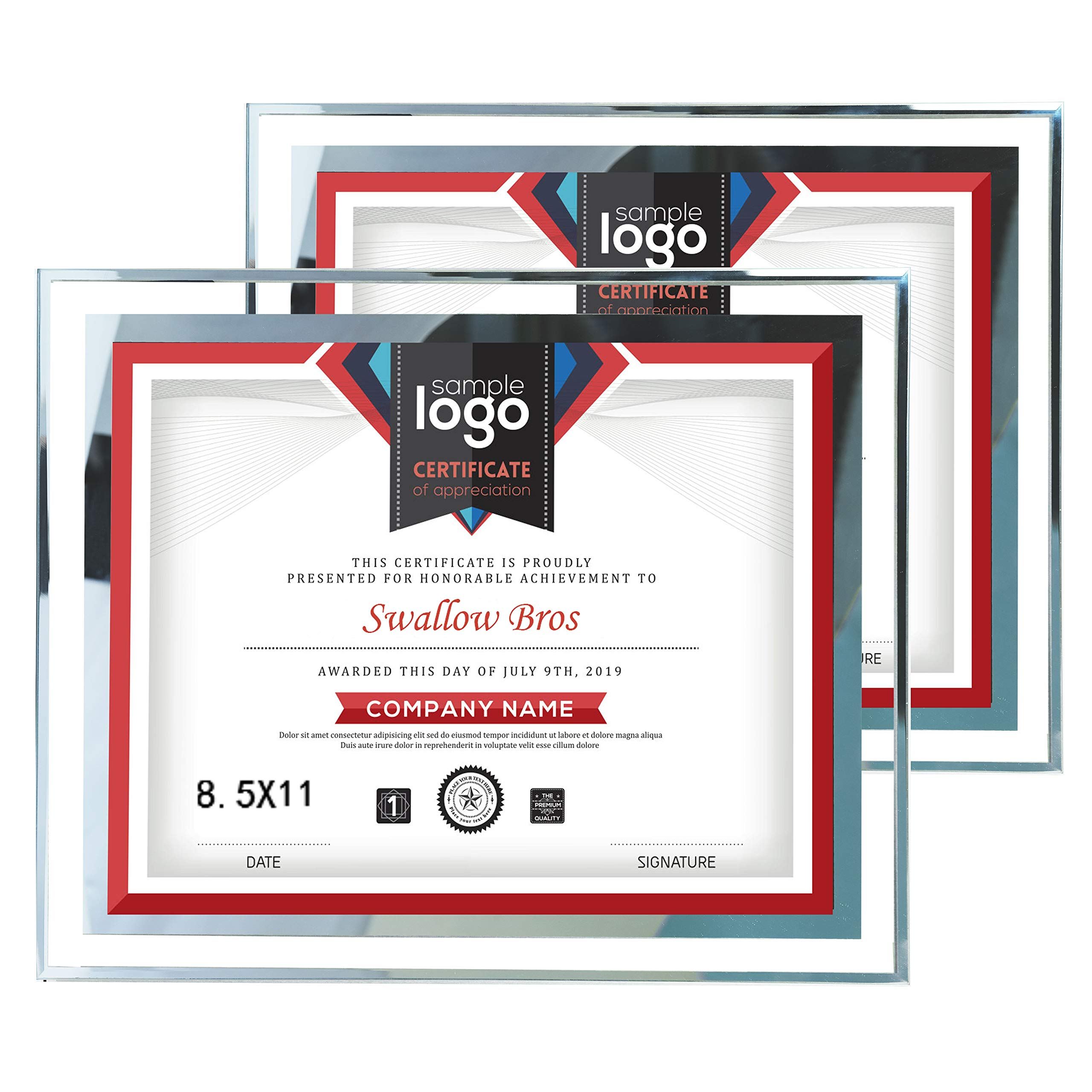 Swallow Bros 2 Pack Frame for Certificate 8.5 x 11 Document Frames Wall and Tabletop Display, Silver
