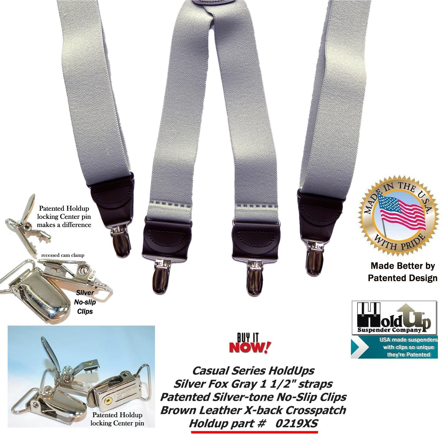 HoldUp Brand Silver Fox Gray X-back Suspenders are 1 1/2'' Wide with patented No-slip Silver-tone Clips by Hold-Up Suspender Co. (Image #8)