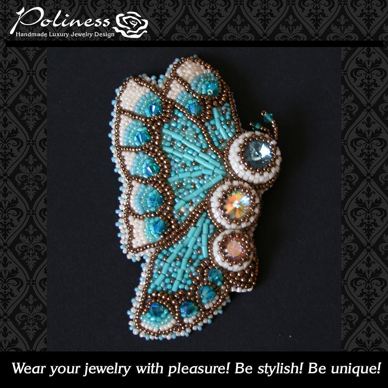 67cf553e696 Amazon.com: Handmade beaded brooch butterfly with crystal swarovski:  Handmade