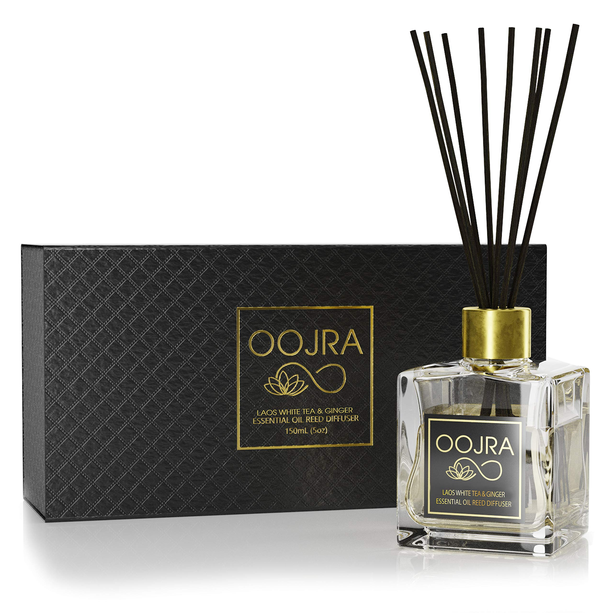 OOJRA Laos White Tea and Ginger Essential Oil Reed Diffuser Gift Set: Glass Bottle, Reed Sticks, Natural Scented Long Lasting Fragrance Oil (3+ Months 5 oz) for Aromatherapy and Air Freshener by OOJRA