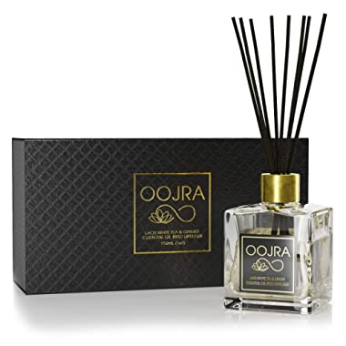 OOJRA Laos White Tea and Ginger Essential Oil Reed Diffuser Gift Set: Glass Bottle, Reed Sticks, Natural Scented Long Lasting Fragrance Oil (3+ Months 5 oz) for Aromatherapy and Air Freshener
