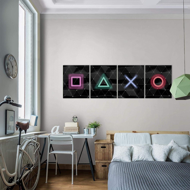 Bilder Spielkonsole Gamer Wandbild 160 x 50 cm Vlies MADE IN GERMANY Leinwand Bild XXL Format Wandbilder Wohnzimmer Wohnung Deko Kunstdrucke Bunt 4 Teilig Fertig zum Aufh/ängen 023846a
