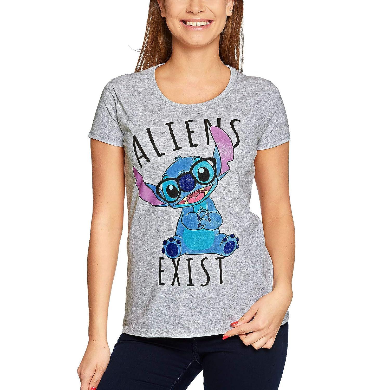 Lilo /& Stitch Camiseta para Mujer Disney Aliens Exists Grey
