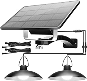 Solar Lights Outdoor Indoor with 2 Lamps JACKYLED LED Solar Pendant Lights IP65 Waterproof Hanging Shed Night Lighting for Garden Barn Porch Patio Balcony Chicken Coop (Cool White)