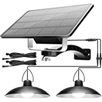 Solar Shed Light Outdoor Indoor with Dual Head JACKYLED Solar Powered Pendant Lamp IP65 Waterproof LED Chicken Coop…