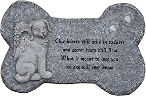 "G-MART Garden Dog Memorial Painted Polystone Stepping Stone and Wall Plaque - 12""W x 1.25""D x 7.5""H"