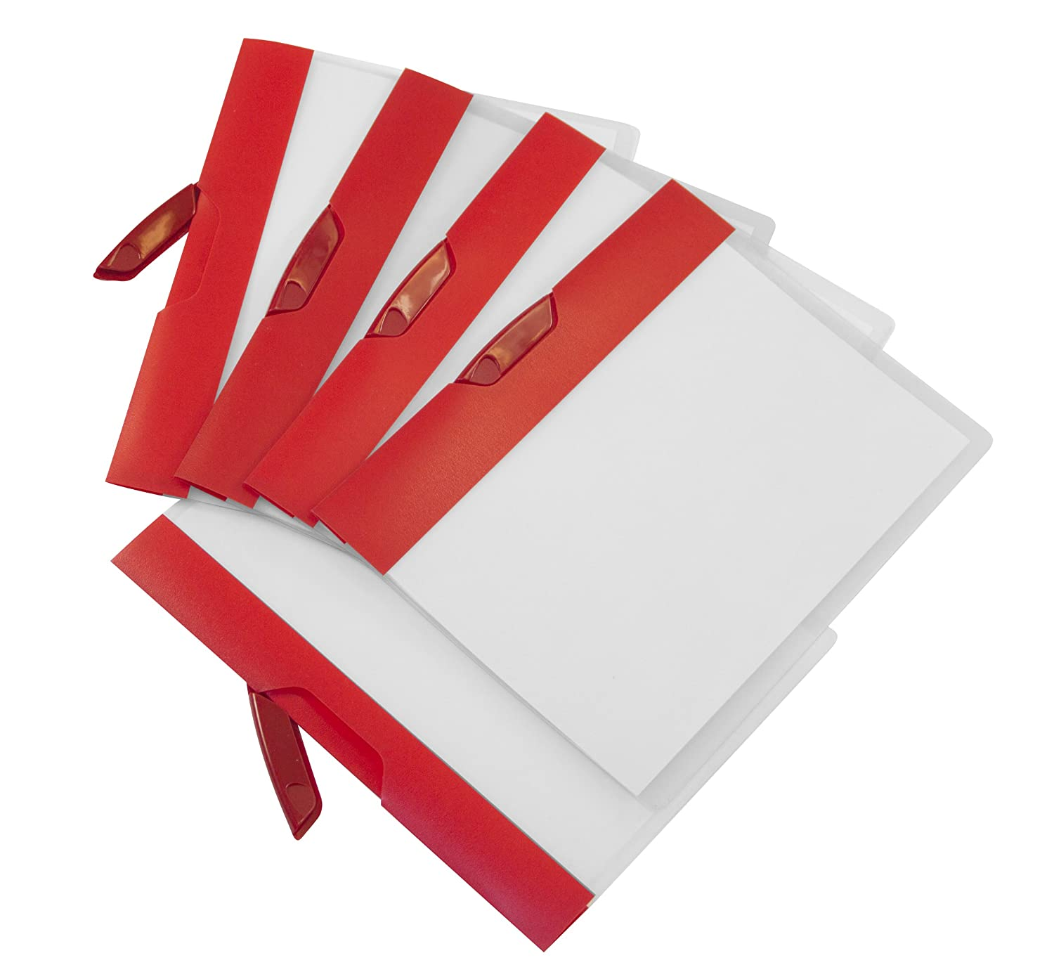 Storex Poly Report Cover with Swing Clip, 5 Pack, Red Stripe (51266U01C)