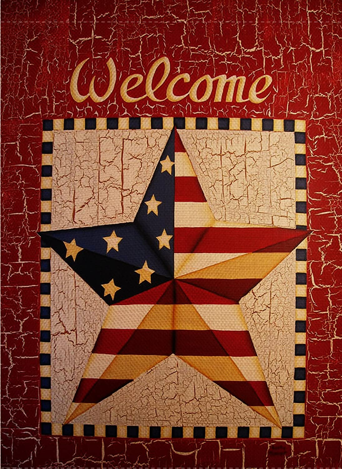 Dyrenson Decorative Welcome Quote 4th of July Patriotic Garden Flag Double Sided, Rustic Stars Stripes House Yard Flag, Primitive Garden Yard Decorations, American USA Seasonal Outdoor Flag 12 x 18
