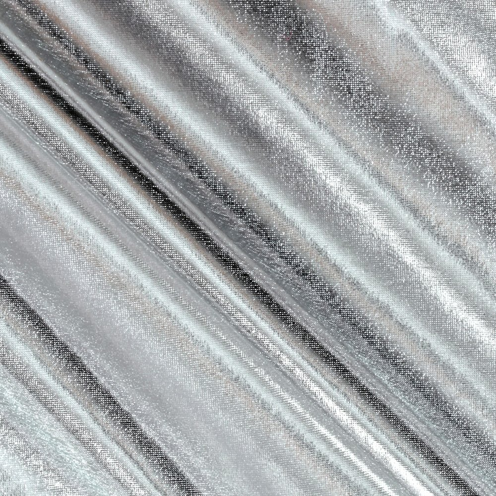 Triple Textile 0337429 Polyester Spandex Lame Jersey Knit Metallic Fabric The Yard, Silver