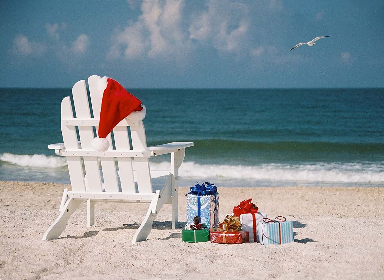 519c5fb045d Amazon.com   Christmas Beach Chair with gifts and Santa hat. Box set of 14  cards with a tropical theme.   Office Products