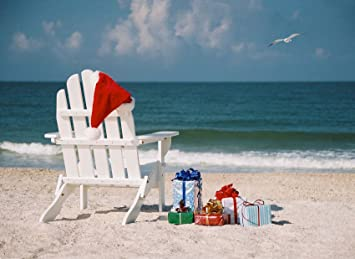 Beach Christmas.Christmas Beach Chair With Gifts And Santa Hat Box Set Of 14 Cards With A Tropical Theme