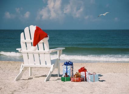Beach Christmas Cards >> Amazon Com Christmas Beach Chair With Gifts And Santa Hat Box Set