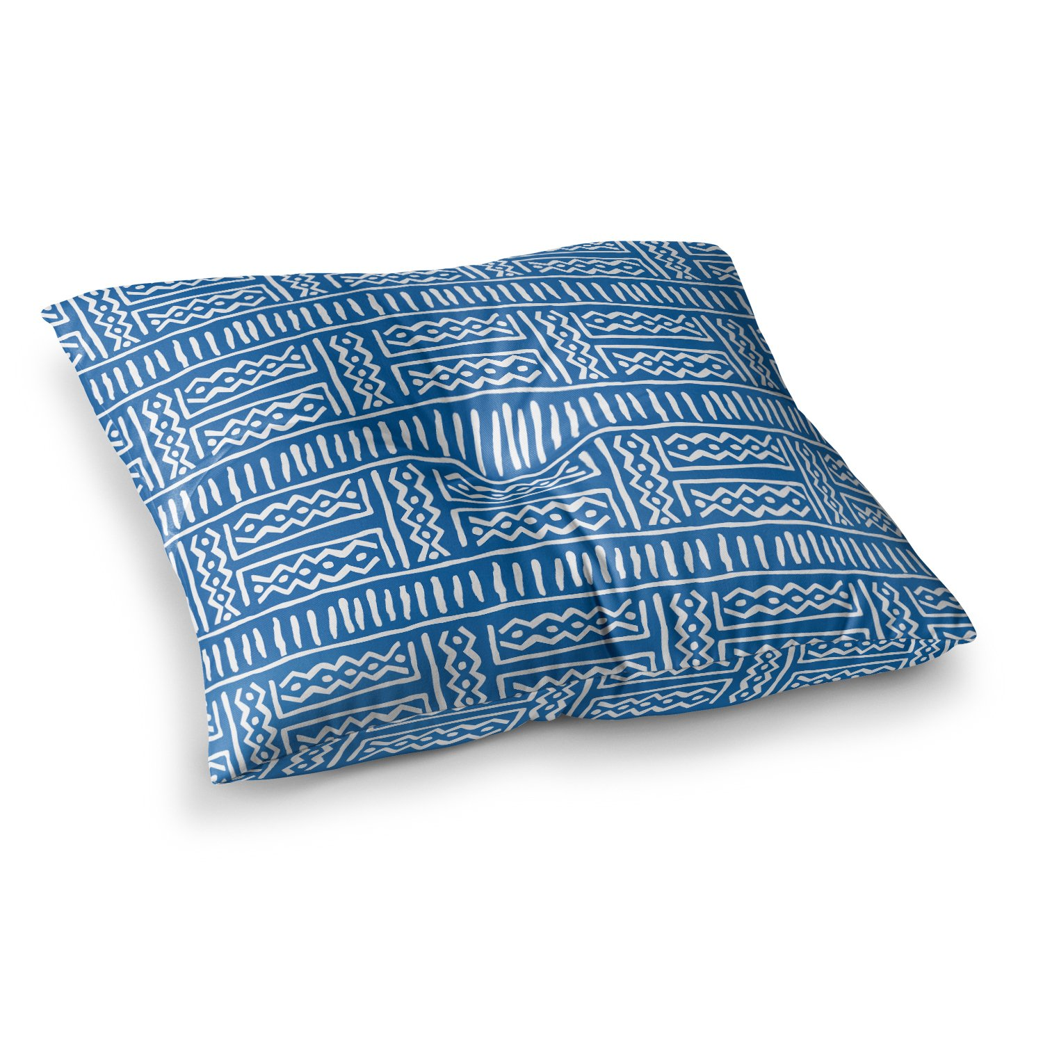 Kess InHouse Dan Sekanwagi Lines and Zigzags Blue Tribal, 26' x 26' Square Floor Pillow