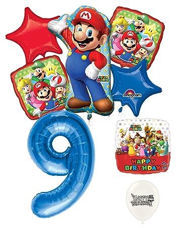 Amazon.com: 9th cumpleaños azul número Mario Brothers ...