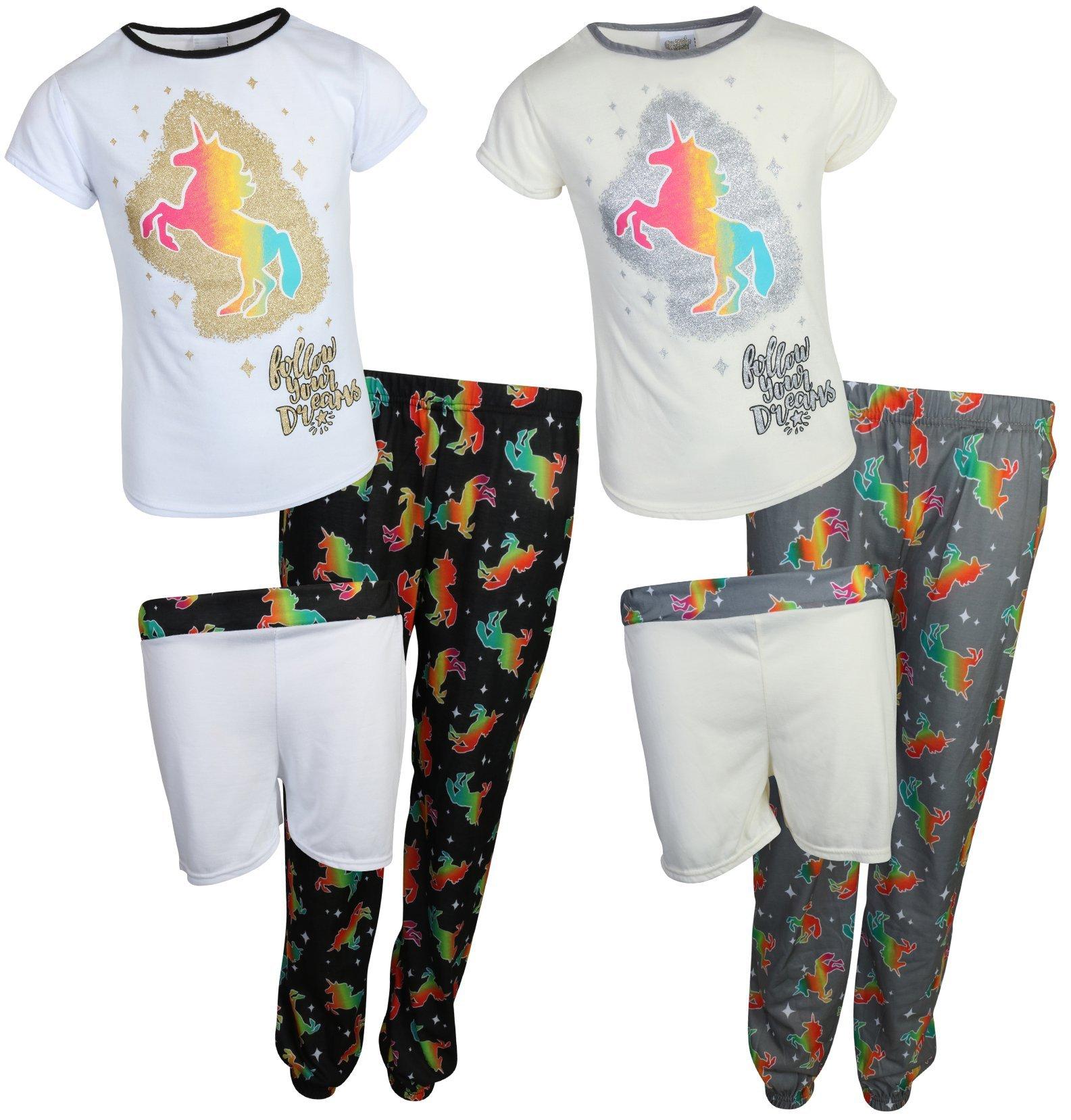 'Sweet & Sassy Girls 6 Piece Mix & Match Pajama Set (2 Tops, 2 Shorts and 2 Pants) Unicorn, Size 10/12'