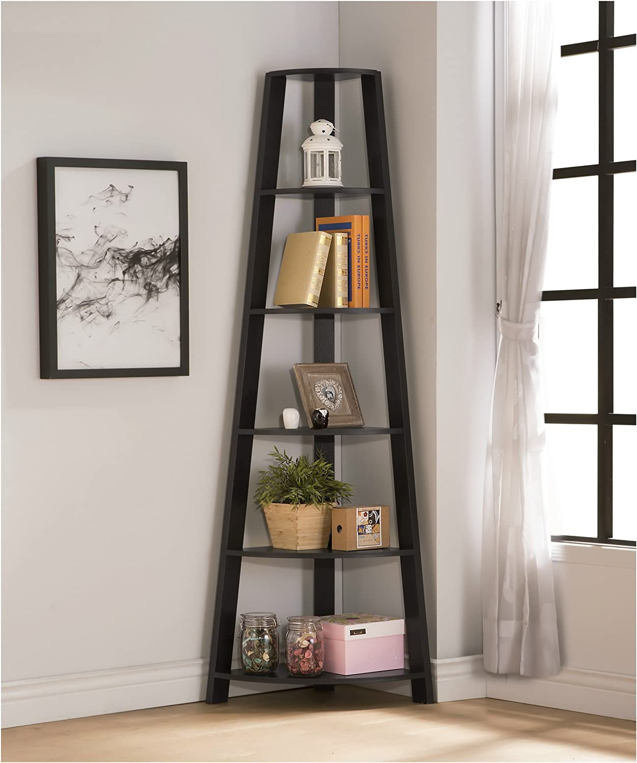 Cappuccino Finish Wood Wall Corner 5-Tier Bookshelf Bookcase Accent Etagere