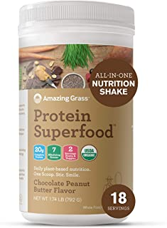 product image for Amazing Grass Protein Superfood: Vegan Protein Powder, All-in-One Nutrition Shake, Chocolate Peanut Butter, 18 Servings