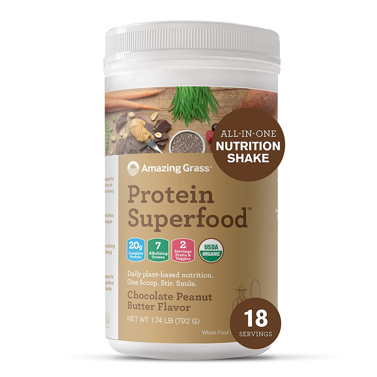 Amazing Grass Protein Superfood: Vegan Protein Powder, All-in-One Nutrition Shake, Chocolate Peanut Butter, 18 Servings : Grocery & Gourmet Food
