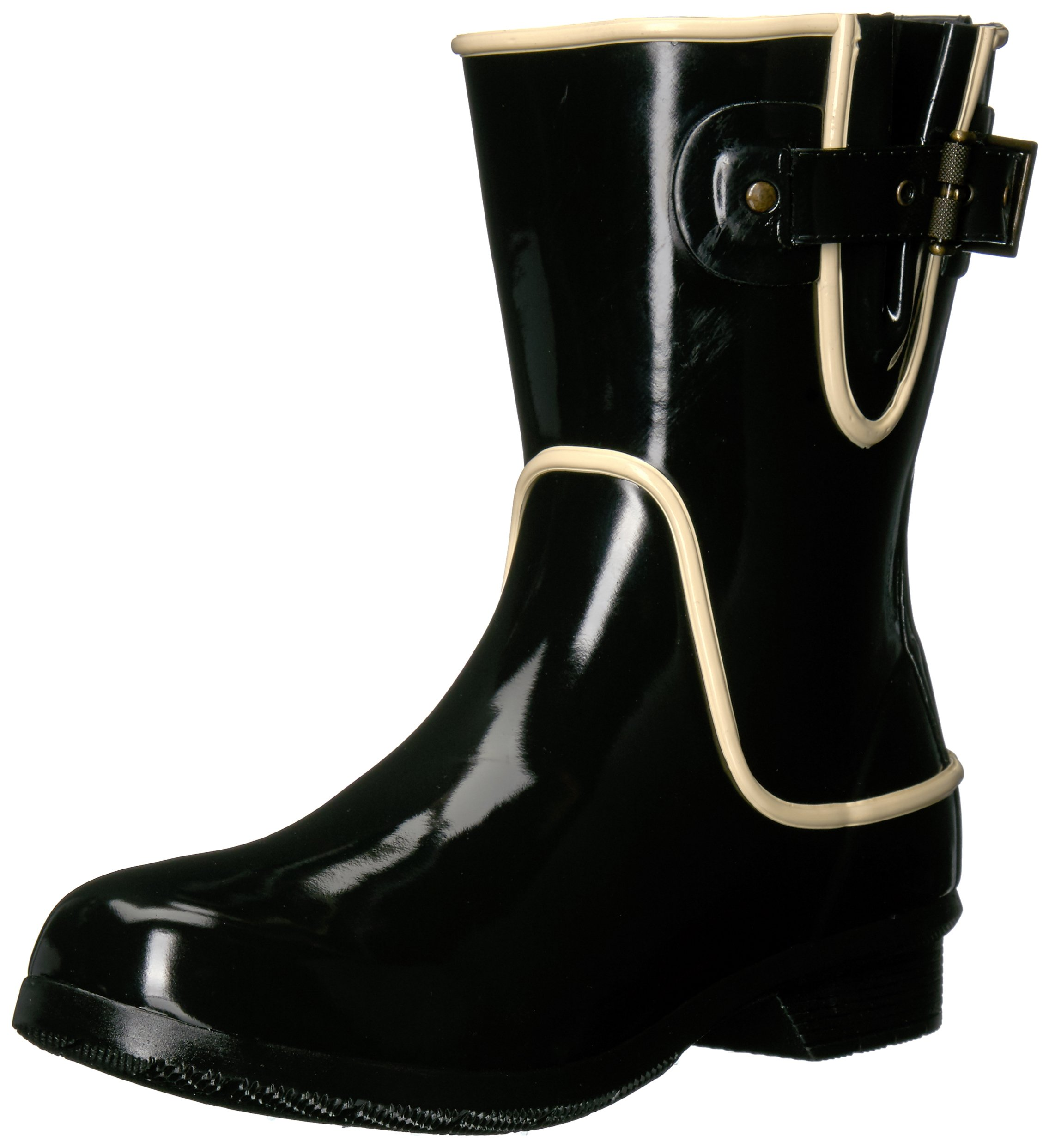 Chooka Women's Waterproof Mid-Height Printed Rain Boot with Memory Foam, Fine Line Black, 7 M US