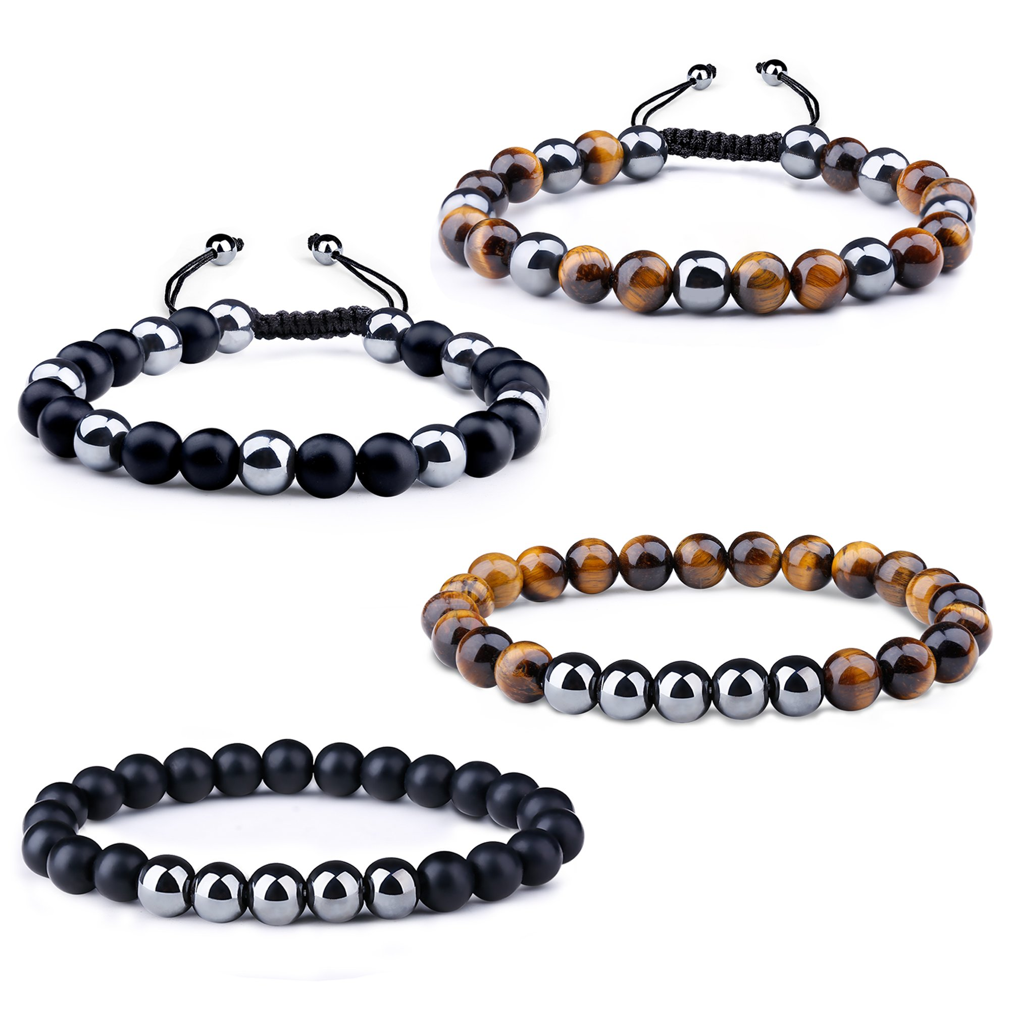 Milacolato 4Pcs Healing Energy Natural Tiger Eye Stone Lava Beads Bracelet Men Women Hematite Therapy Beads Stretch Bracelet Adjustable Tiger Eye