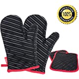 DEIK Oven Mitts and Potholders 4 Pieces, Heat Resistant Gloves with Cotton Lining, Non-slip Silicone Potholder for Cooking, Baking, Grilling, Holding Pot, Black