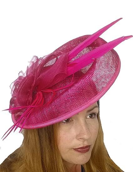 999fc11503564 Fuchsia Pink Large Oval Saucer Sinamay Fascinator - Occasion Wedding Races   Amazon.co.uk  Clothing