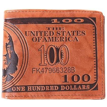 Tenflyer Monedero PU hombre billetera que es patrón de Dólar (Marrón claro)