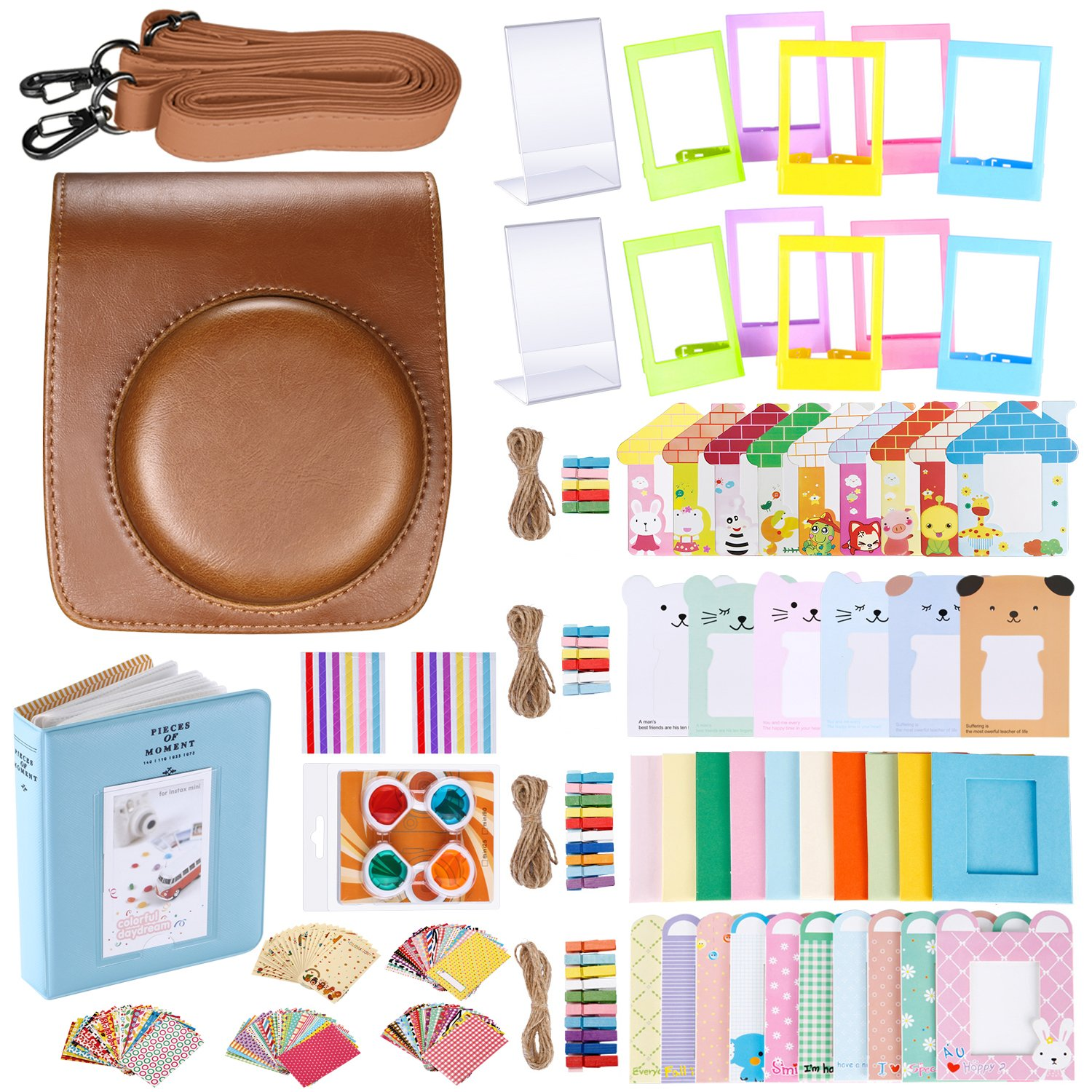 Neewer 56-in-1 Accessory Kit for Fujifilm Instax Mini 90 (Brown), Includes: Camera Case with Adjustable Strap, Various Frames, Book Album, Close-up Lens, Corner Stickers, Photo Instant Films Stickers 10088957
