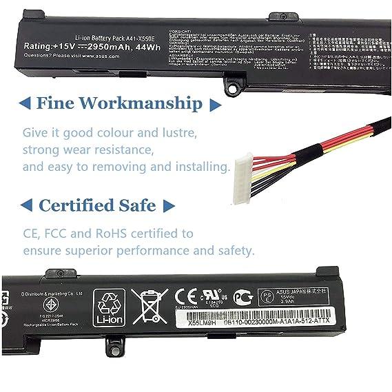 A41-X550E Bater/ía para Laptop Compatible con ASUS A450J A450e A450JF X450X450e X550e X450J X450JF K550E K751L F751M 4 Patillas, 15V, 44W, 2950mAh