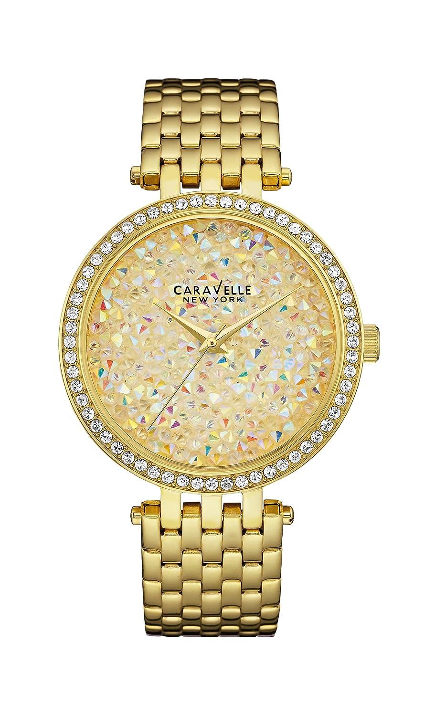 Caravelle New York Damen-Armbanduhr CRYSTALS Analog Quarz Edelstahl beschichtet 4