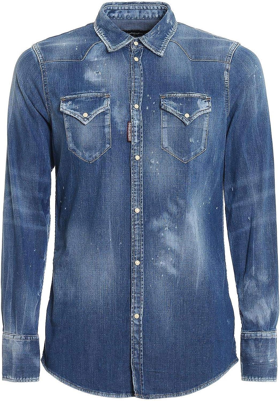 DSQUARED2 Luxury Fashion Hombre S74DM0301S30341470 Azul Camisa | Otoño-Invierno 19: Amazon.es: Ropa y accesorios