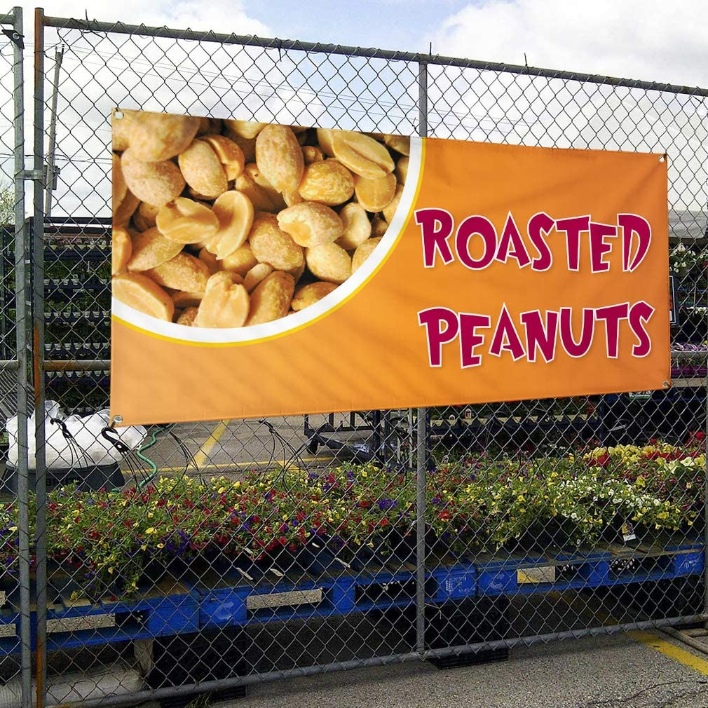 6 Grommets Multiple Sizes Available Set of 2 32inx80in Vinyl Banner Sign Roasted Peanuts #1 Style A rosted Outdoor Marketing Advertising Orange