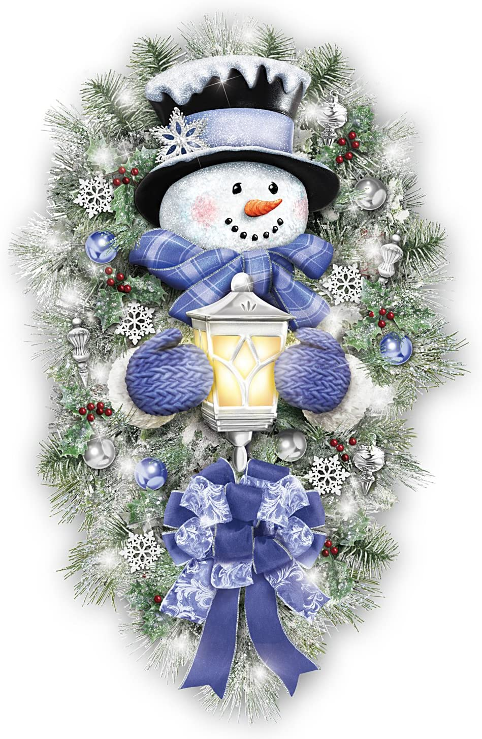 The Bradford Exchange Thomas Kinkade A Warm Winter Welcome Holiday Snowman Wreath Lights Up 2 Tall Home Kitchen